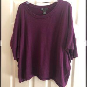 Inc womens sweater purple large l cotton crew top